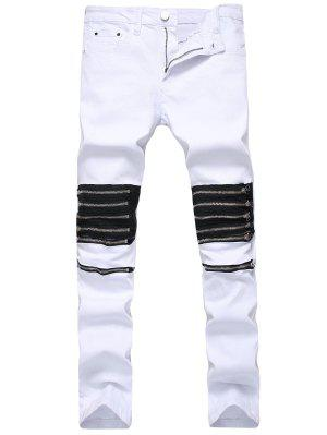 Multi Zippers Panel Slim Fit Jeans