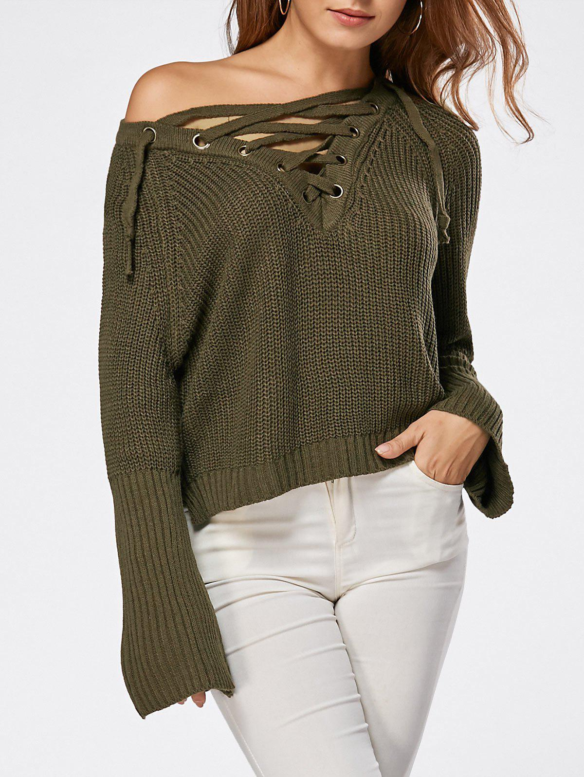 Lace Up Raglan Sleeve High Low Sweater 221309904