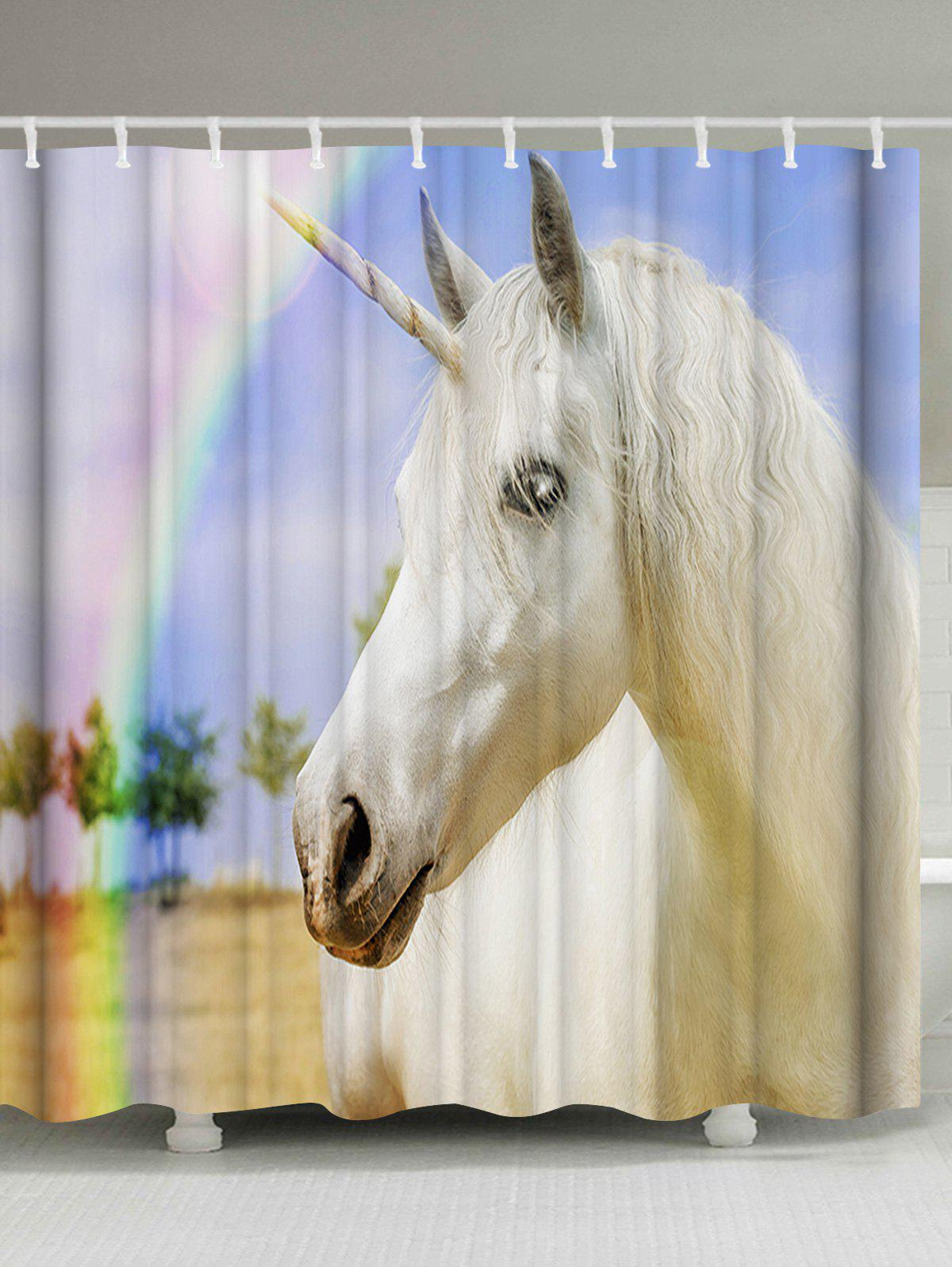Rainbow Unicorn Animal Bathroom Shower Curtain