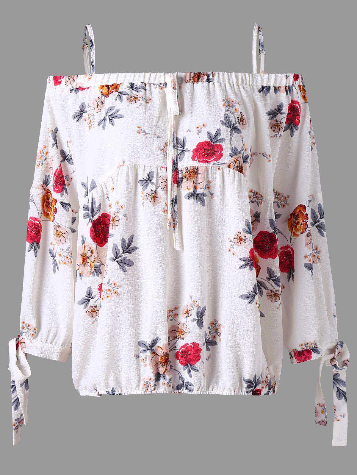 Plus Size Cold Schulter Blumen Bluse