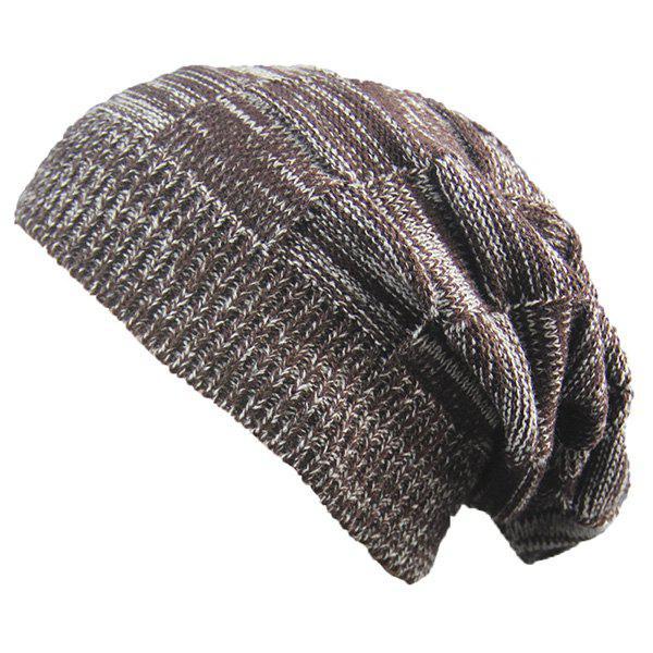 Striped Rib Knitting Warm Beanie Hat 221766602