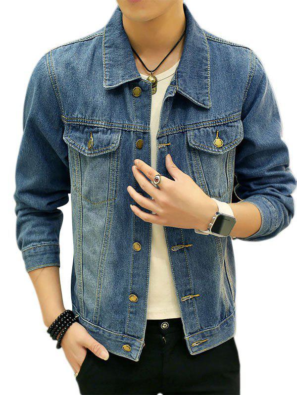 Double Chest Pocket Jean Jacket 221866504