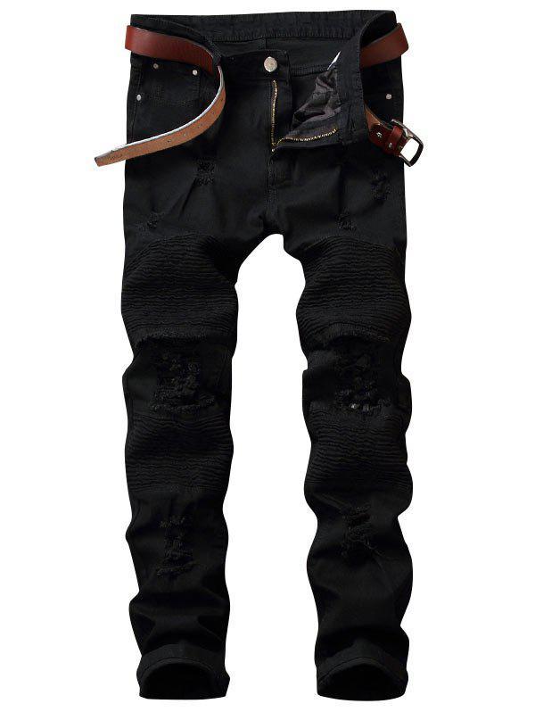 Zip Fly Pleated Distressed Biker Jeans 221970202