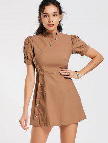 Puff Sleeve Side Buttoned A Line Dress - Khaki S