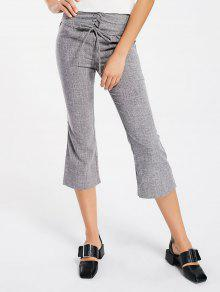 Corset Lace Up Boot Cut Ninth Pants - Gray M