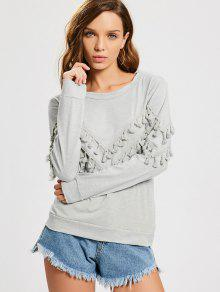 Tassels Embellished Long Sleeve Tee - Light Gray S