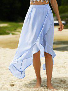 Jupe à Taille Haute En Couleur Bleue Et à Volants - Bleu Clair Xl