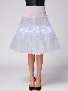 Flounce Light Up Cosplay Skirt - Light Gray M