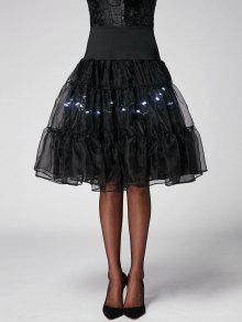 Flounce Light Up Cosplay Skirt - Bright Black Xl