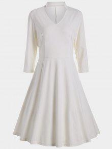 V Neck Three Quarter Sleeves Dress - White S