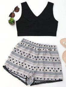 Crop Top And Geometric Print Shorts Set - Black S