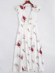 الدانتيل يصل فتح العودة فستان ماكسي الزهور - أبيض L