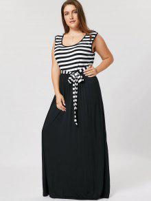 Plus Size Striped Belted Maxi Dress - Black Xl