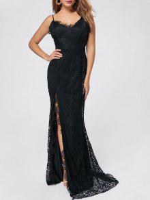 فستان السهرة انقسام دانتيل مثير ماكسي - أسود M