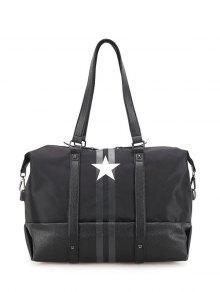 Rivets Star Print Shoulder Bag - Black