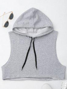 Dropped Armhole Hooded Sports Top - Gray