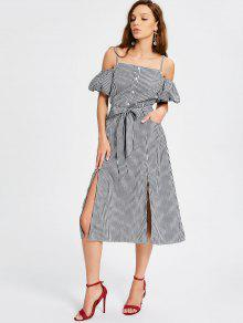 Puff Sleeve Slit Belted Checked Cami Dress - Checked L