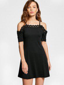 Vestido De Encaje De Hombro Frío Cami - Negro M