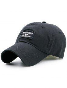 قبعة بيسبول طباعة الحرف مرقعة - أسود