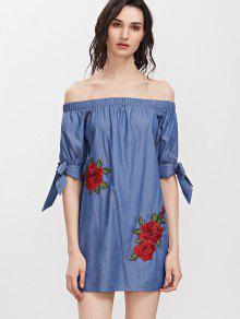 الأزهار التطريز قبالة الكتف اللباس مصغرة - ازرق L