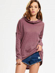 Convertible Collar Knitted High Low Tee - Brick-red M