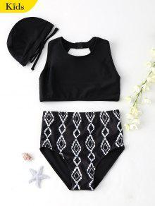 Cut Out Geometric High Waisted Kid Bikini - Black 8t