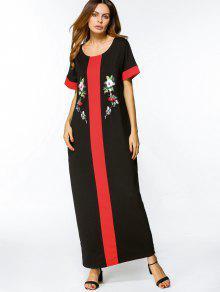 اثنين من لهجة الزهور مطرز فستان ماكسي - أسود M