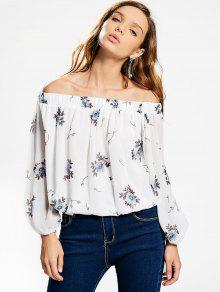 Off The Shoulder Floral Chiffon Blouse - White M