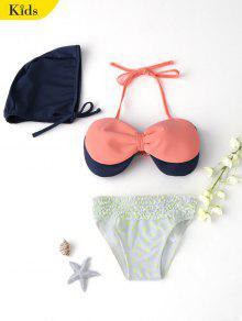 Bow Tiered Ruffle Kid Bikini With Swim Cap - Pink 7t