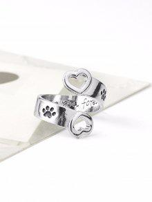Claw Footprint Love You Forever Heart Ring - Silver