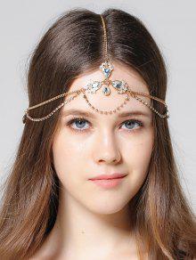 سلسلة الرأس حجر الراين جوهرة الاصطناعية  - ذهبي