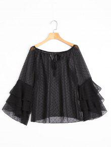Tiered Flare Sleeve Embellished Sheer Blouse - Black Xl