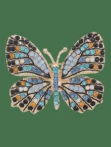 Rhinestone Butterfly Sparkly Brooch - Blue