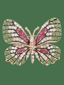 حجر الراين الفراشة سباركلي بروش - أخضر