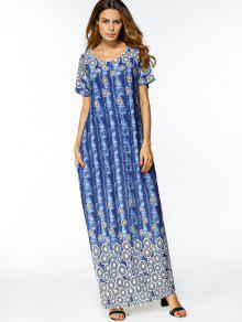 المطبوعة الشق التعادل مصبوغ فستان ماكسي - أزرق Xl