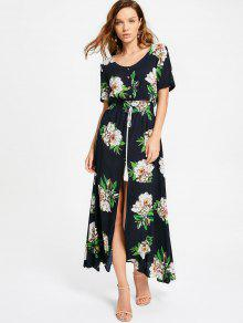 High Slit Floral Print Tassels Maxi Dress - Purplish Blue L