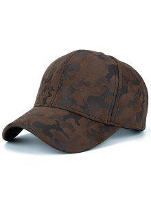 فو الجلد المدبوغ التمويه نمط قبعة بيسبول - قهوة
