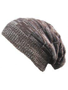 مخطط الضلع الحياكة قبعة قبعة دافئة - قهوة