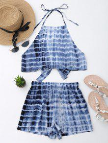 Cut Out Bowknot Cropped Top And Tie Dyed Shorts - Blue Xl