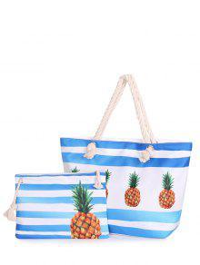 Color Blcok 2 Pieces Striped Shoulder Bag Set - Blue