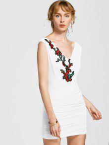 Floral Patched Sleeveless Bodycon Dress - White