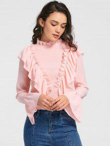 Ruffle Trim Flare Sleeve Longline Blouse - Pink Xl