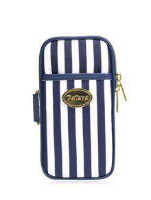 Color Block Polyester Running Arm Bag - Blue And White