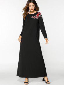 كم طويل الأزهار مطرز فستان ماكسي - أسود 2xl