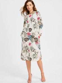 Floral Print Long Sleeve Slit Dress - Multi L