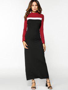 اللون كتلة طويلة الأكمام فستان ماكسي - L