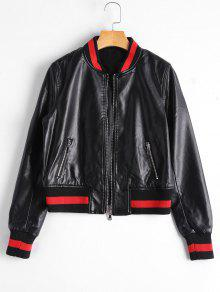 Zip Up Faux Leather Bomber Jacket - Black S