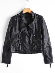 Asymmetrical Zipper Faux Leather Biker Jacket - Black S