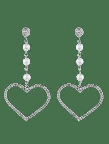 Faux Pearl Rhinestone Heart Dangle Earrings - Silver