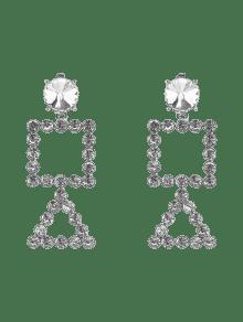 Rhinestone Triangle Geometric Dangle Earrings - Silver